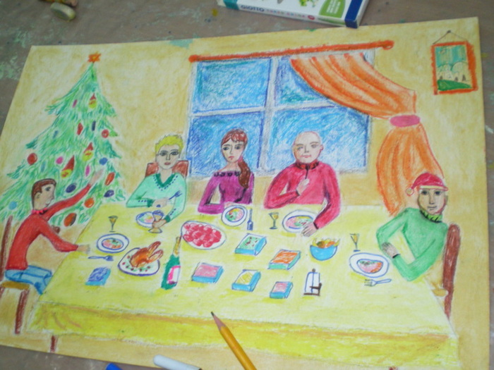 Картинки дл рисования новогодний праздник в семье